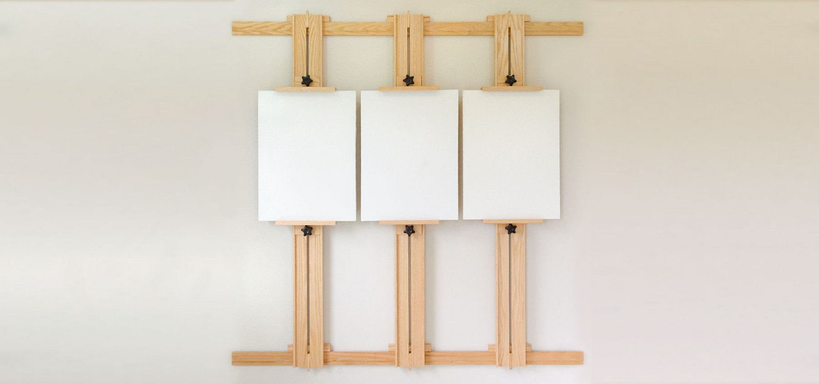 Showcase 66 Inch Wall Easel with Three Canvases