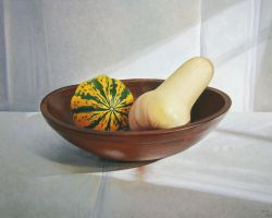 Squash in Wooden Bowl