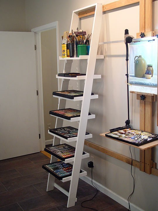 Ladder Shelves On Wall Easel Rail
