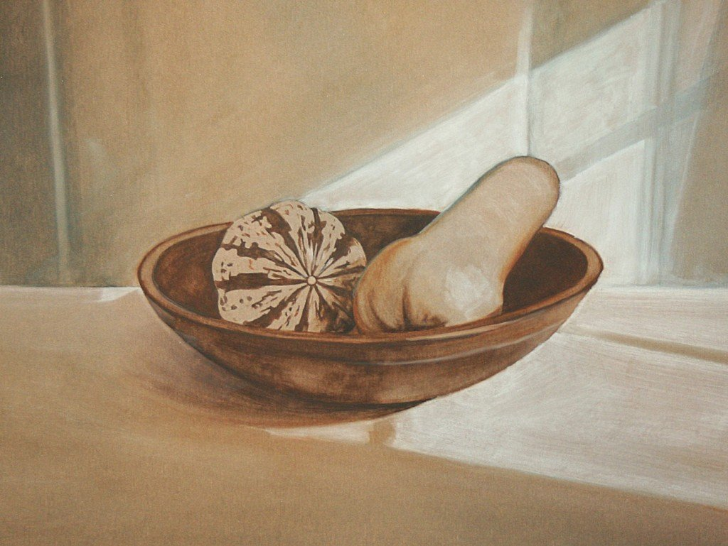 Squash in Wooden Bowl - Underpainting