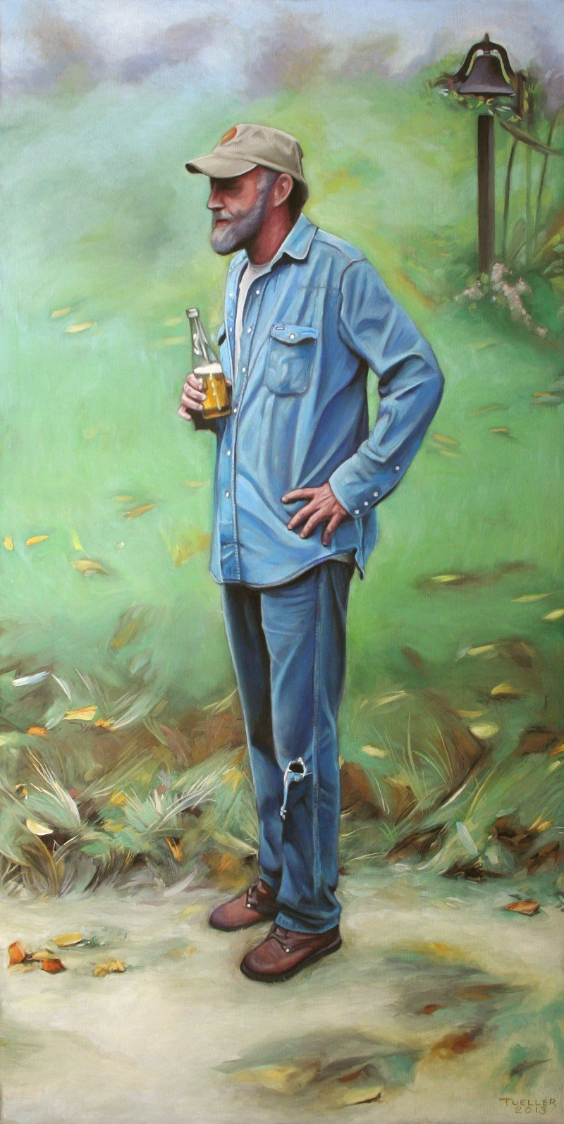 """Carl - Standing with Beer"" 20″ x 10″ pastel on paper"