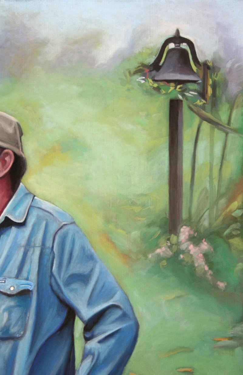 """Carl - Standing with Beer"" (detail) 20″ x 10″ pastel on primed illustration board"