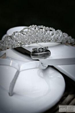 Tiara, rings and sandals