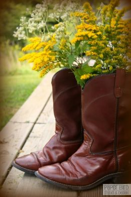 Country Wedding Boots with Flowers